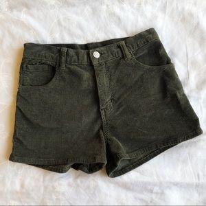 NWT Brandy Melville Green Corduroy Shorts